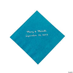 Personalized Beverage Napkins - Turqouise with Silver Print