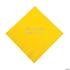 Yellow Personalized Beverage Napkins with Silver Print