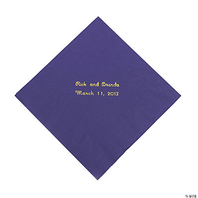 Purple Personalized Luncheon Napkins with Gold Print