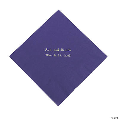 Purple Personalized Luncheon Napkins with Silver Print