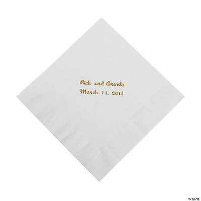 White Personalized Luncheon Napkins with Gold Print