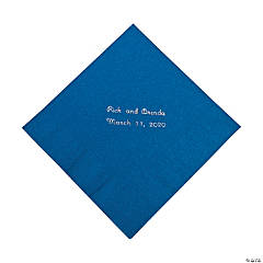 Blue Personalized Luncheon Napkins with Silver Print