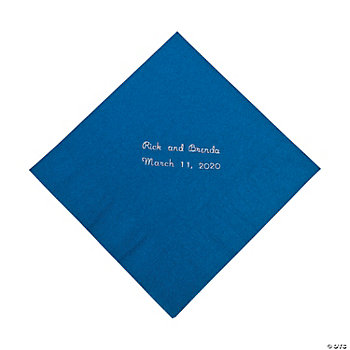 Personalized Blue Luncheon Napkins