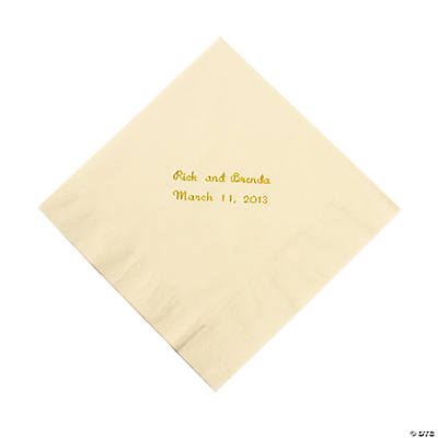 Ivory Personalized Luncheon Napkins with Gold Print