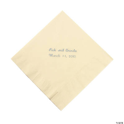 Ivory Personalized Luncheon Napkins with Silver Print