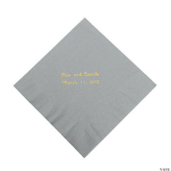 Personalized Silver Luncheon Napkins