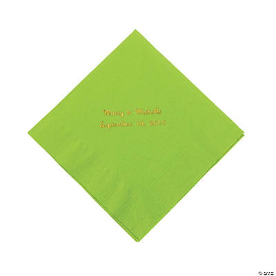 Personalized Luncheon Napkins - Lime Green with Gold Print
