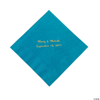 Personalized Luncheon Napkins - Turquoise with Gold Print