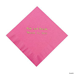 Candy Pink Personalized Beverage Napkins with Gold Print