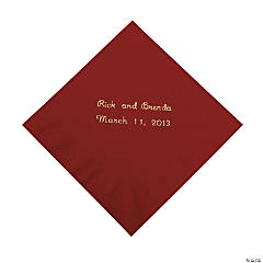 Burgundy Personalized Beverage Napkins with Gold Print