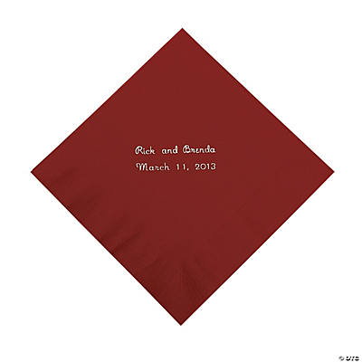 Burgundy Personalized Luncheon Napkins with Silver Print