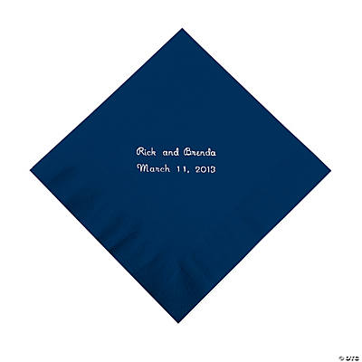 Personalized Navy Luncheon Napkins