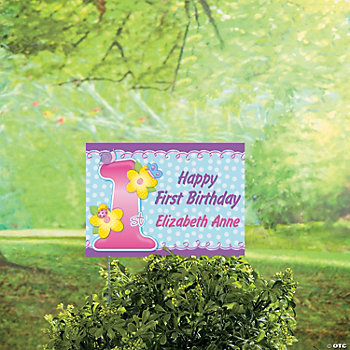 Personalized 1st Birthday Girl Yard Sign