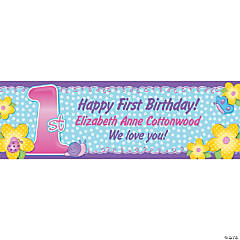 Personalized 1st Birthday Girl Banner - Small