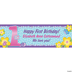 Personalized 1st Birthday Girl Banner - Medium