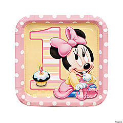 Minnie's 1st Birthday Square Dinner Plates