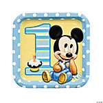 Mickey's 1st Birthday Square Dinner Plates