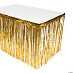 Gold Metallic Fringe Table Skirt