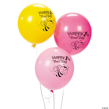 12 1st Birthday Bee Party Balloons