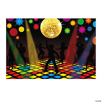 Disco party backdrop banner oriental trading for 70s party decoration