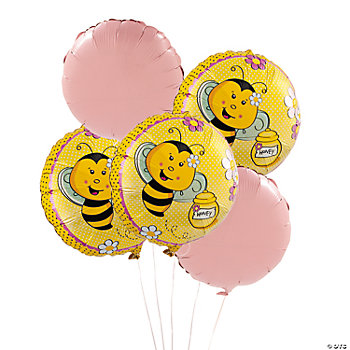 5 Bee Party Round Mylar Balloons