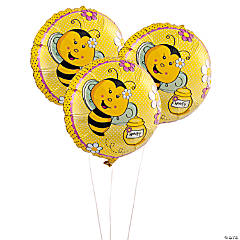 Bee Party Round Mylar Balloons