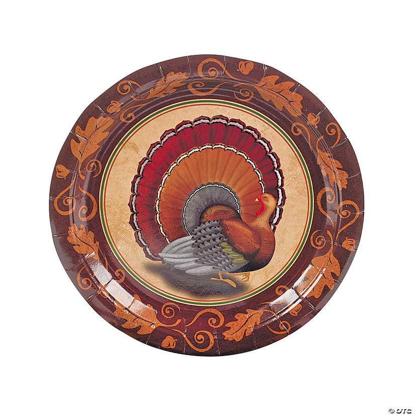 sc 1 st  Oriental Trading & Thanksgiving Turkey Paper Dinner Plates