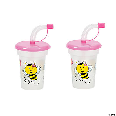 Molded Bee Cups with Lids & Straws