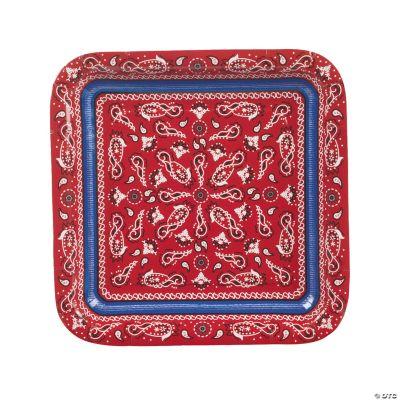 Red Bandana Square Dinner Plates