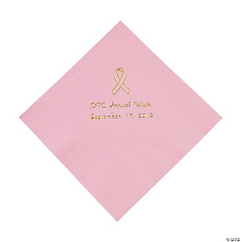 Pink Ribbon Luncheon Napkins - Gold Print