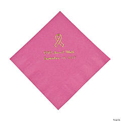 Personalized Candy Pink Ribbon Luncheon Napkins - Gold Print