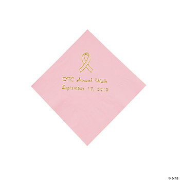 Pink Ribbon Beverage Napkins - Gold Print