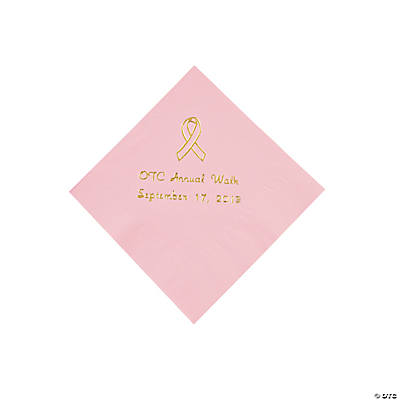 Personalized Pink Ribbon Beverage Napkins - Gold Print