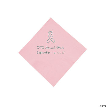 Personalized Pink Ribbon Beverage Napkins - Silver Print