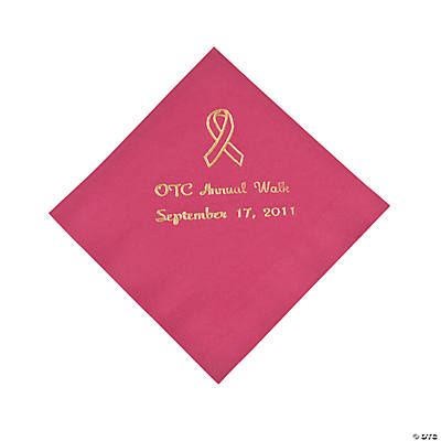 Personalized Hot Pink Ribbon Beverage Napkins - Gold Print