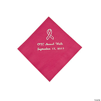 Hot Pink Ribbon Beverage Napkins - Silver Print