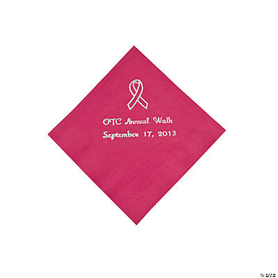 Personalized Hot Pink Ribbon Beverage Napkins - Silver Print