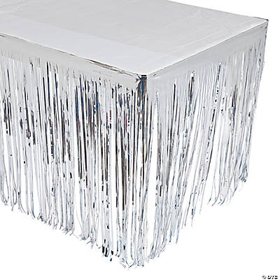 Silver Fringe Table Skirt