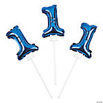 1st Birthday Blue Self Inflate Mylar Balloon