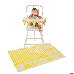 """1st Birthday"" Yellow High Chair Set"