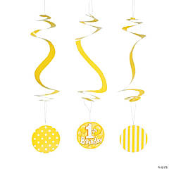 1st Birthday Yellow Hanging Spirals