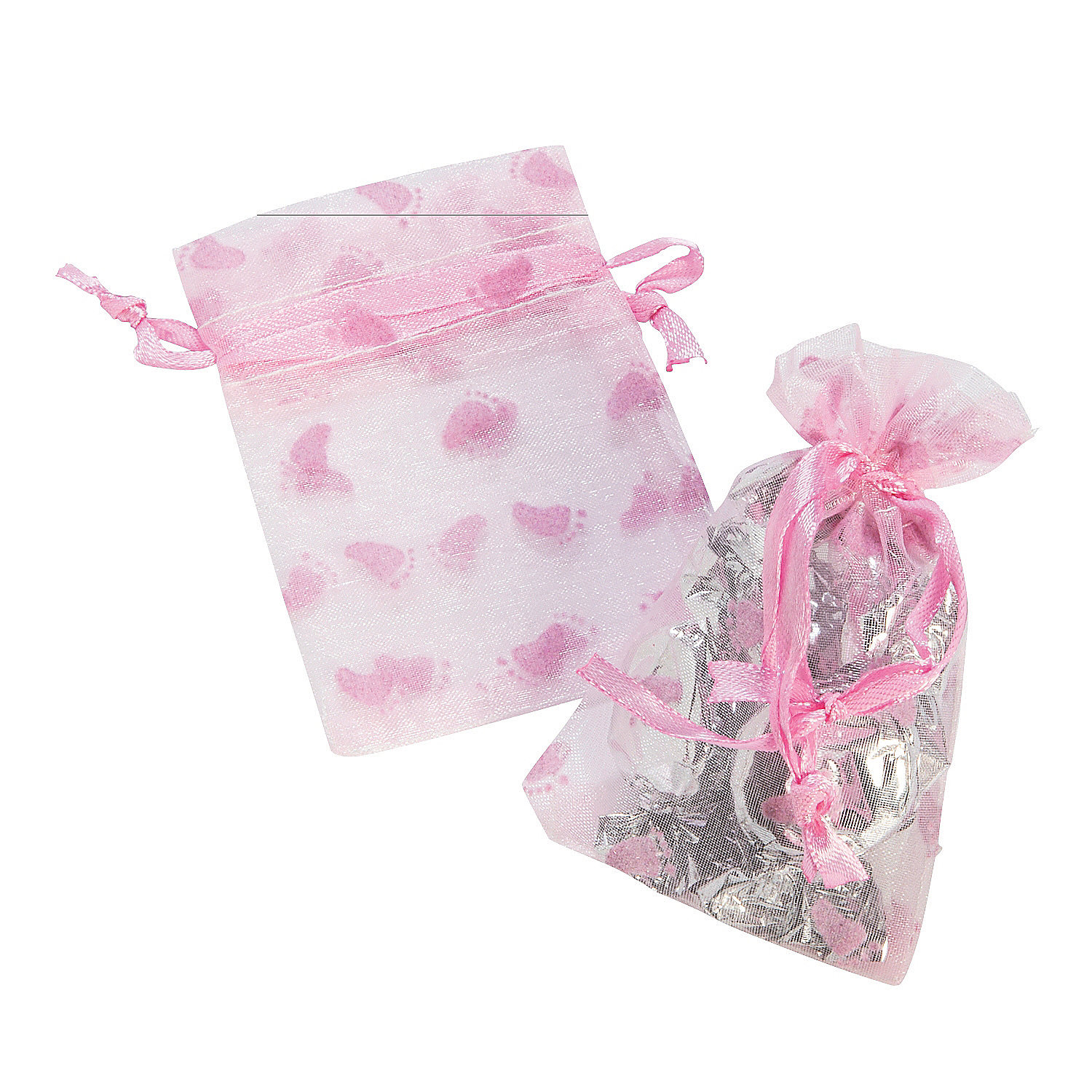 girl s baby shower organza bags in 70 8977 decorated with a pink baby