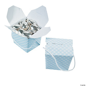 Mini Blue Gingham Takeout Boxes
