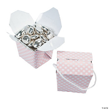 Mini Pink Gingham Takeout Boxes