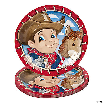 8 1st Birthday Cowboy Dinner Plates