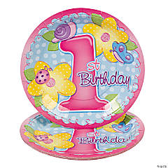 "8 ""1st Birthday"" Girl Dinner Plates"