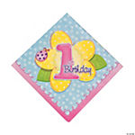 "16 ""1st Birthday"" Girl Lunch Napkins"