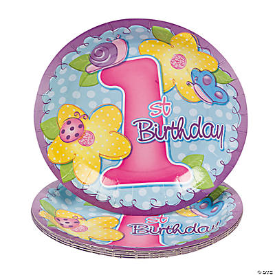 "8 ""1st Birthday"" Girl Dessert Plates"