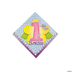 "16 ""1st Birthday"" Girl Beverage Napkins"
