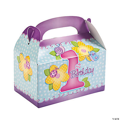 Girl's 1st Birthday Treat Boxes